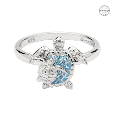 TURTLE & HATCHLING AQUA CRYSTAL RING