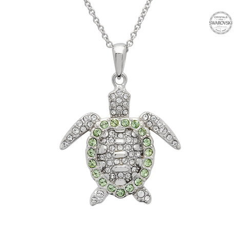 TURTLE GREEN & WHITE CRYSTAL NECKLACE