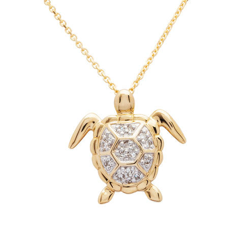 SEA TURTLE NECKLACE 14KT GOLD