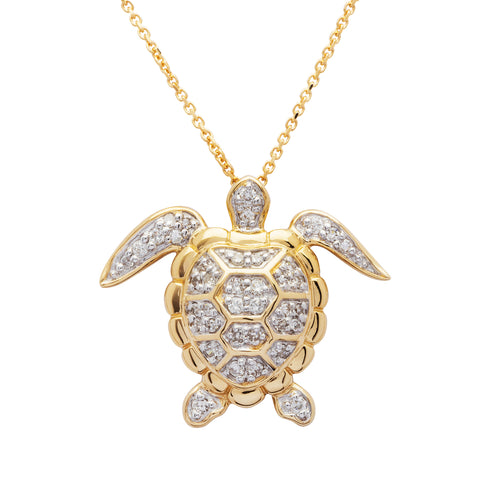 TURTLE DIAMOND 14 KT GOLD NECKLACE