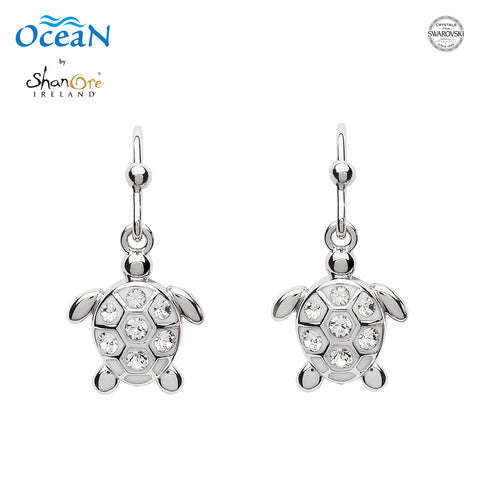 SWAROVSKI DROP TURTLE WHITE CRYSTAL EARRING