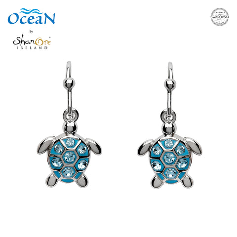 SWAROVSKI DROP TURTLE AQUA EARRING
