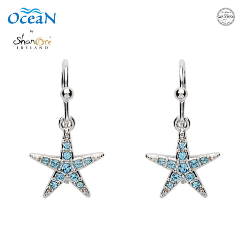 STARFISH CRYSTAL AQUA DROP EARRINGS