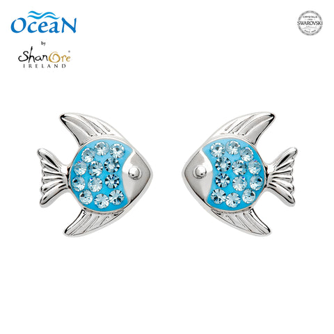 SWAROVSKI STUD AQUA FISH POST EARRING