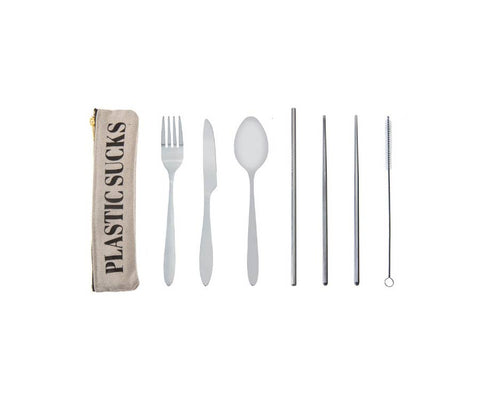 REUSABLE ECO TRAVEL CUTLERY 7PC