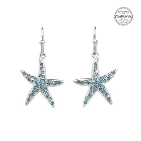 SWAROVSKI STARFISH AQUA DROP EARRING