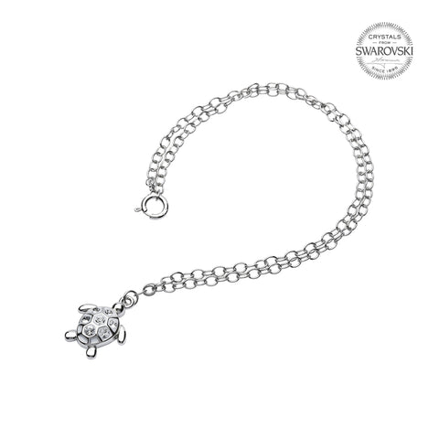 TURTLE WHITE & CRYSTAL ANKLET