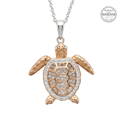 SWAROVSKI ROSE GOLD TURTLE CRYSTAL NECKLACE