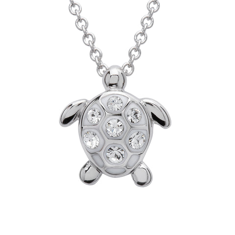 TURTLE WHITE & CRYSTAL NECKLACE SMALL