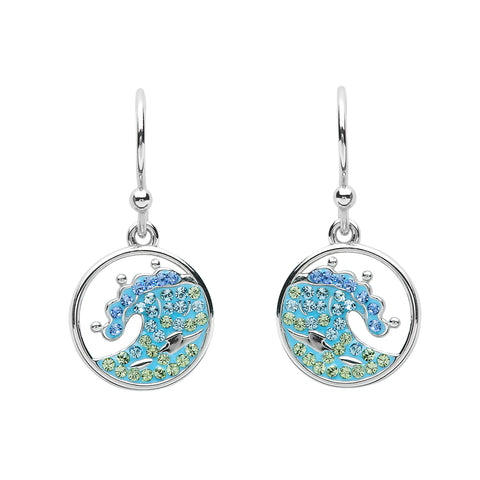SWAROVSKI BLUE CRYSTAL WAVE DROP EARRING