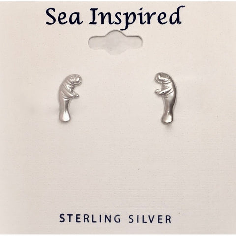 STERLING MANATEE POST EARRING TINY