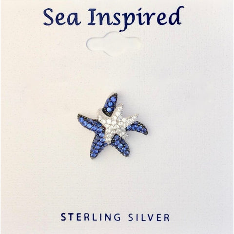 BLUE & WHITE DOUBLE CZ STARFISH PENDANT