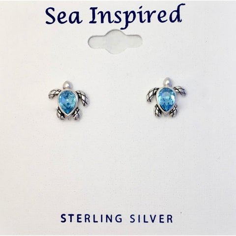 STERLING SWAROVSKI TURTLE POST EARRING SINGLE STONE BOXED