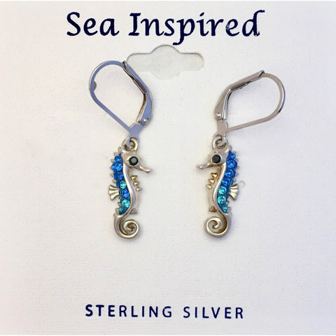 SEAHORSE DANGLE EARRINGS SWAROVSKI ® CRYSTAL ELEMENTS
