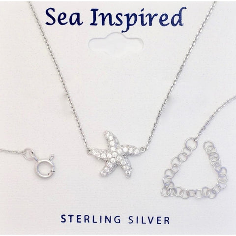 STERLING SEA INSPIRED SEA STAR WHT CZ NECKLACE