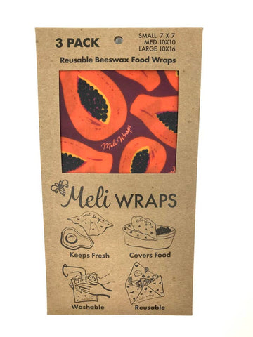 REUSABLE BEESWAX 3 PK FOOD WRAPS