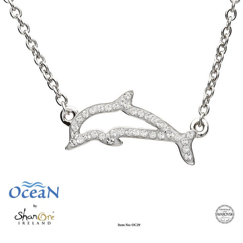 DOLPHIN CUTOUT CRYSTAL NECKLACE
