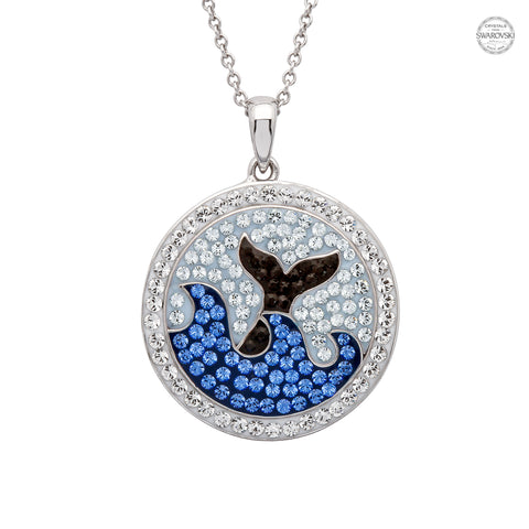 WHALE TAIL CIRCLE BLUE CRYSTAL NECKLACE