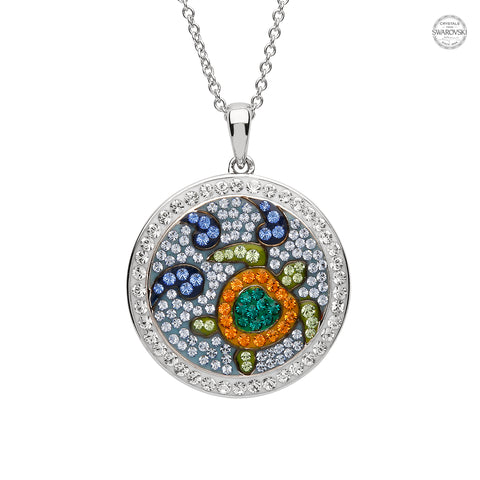 TURTLE IN CIRCLE CRYSTAL NECKLACE