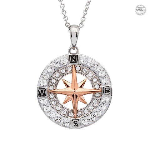 COMPASS ROSE GOLD & CRYSTAL NECKLACE
