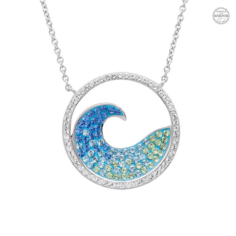 WAVE IN CIRCLE BLUE CRYSTAL NECKLACE