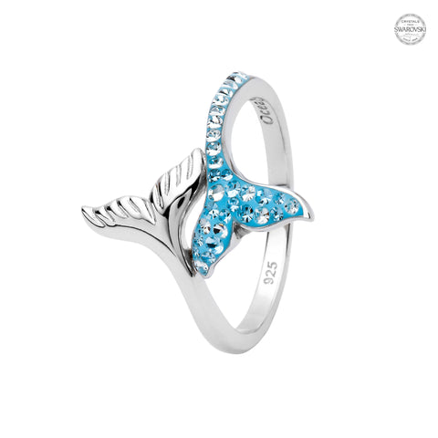 WHALE TAIL AQUA CRYSTAL RING