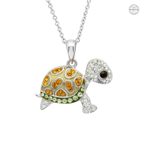 TURTLE GREEN & GOLD CRYSTAL NECKLACE