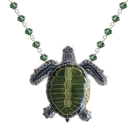 BAMBOO OLIVE RIDLEY CRYSTAL NECKLACE