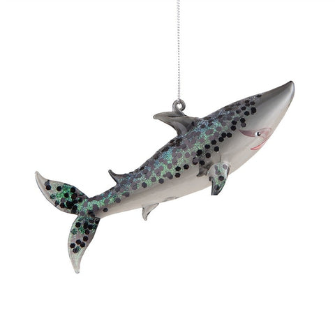 GLASS GLITTER SHARK ORNAMENT