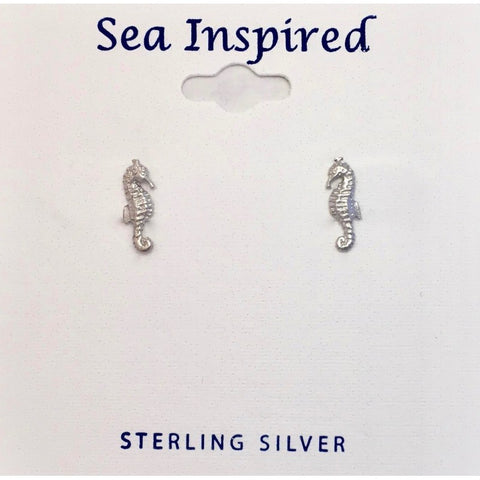 STERLING SEAHORSE POST EARRINGS TINY