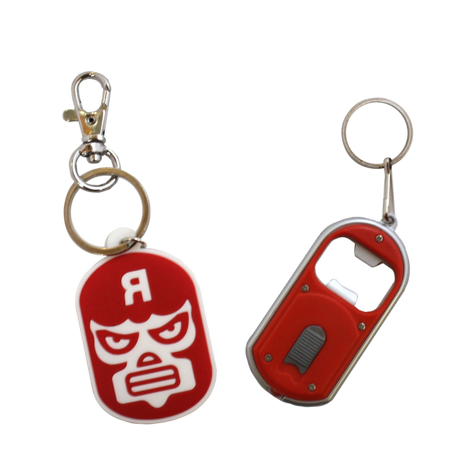 Luchador Keychain + Red Bottle Opener Keychain - Set of 2