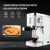 Gevi Espresso Machine 20-Bar Latte Cappuccino Maker with Frother,1.25 L,White, 1350W(Refurbished-Good)