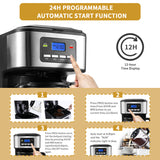 Gevi 12 Cups Coffee Maker 24H Programmable Anti-Drip Design with 1.8L Glass Carafe, 2H Auto Keep Warm(Refurbished-Like New)