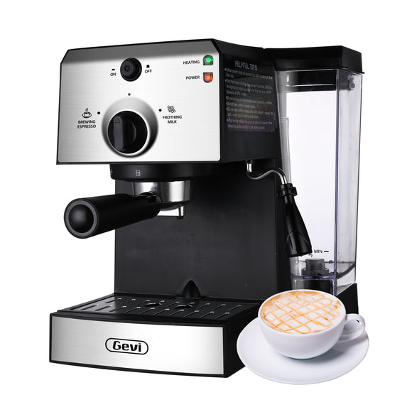 Gevi 15Bar Espresso Machine Cappuccino Maker Latte Machine with Milk Frother for Home,42oz Removable Water Tank(Refurbished-Good)