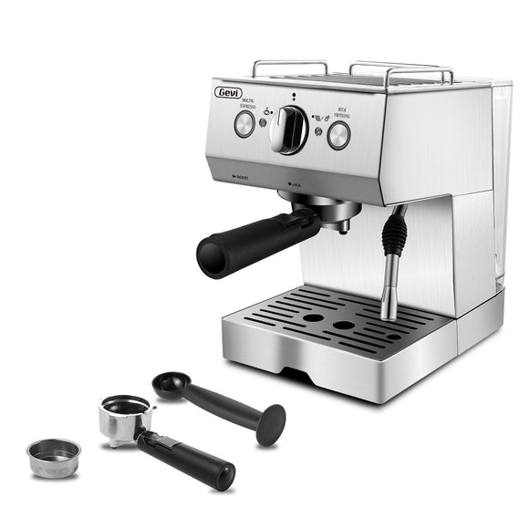 Gevi Espresso Machine 15 Bar Coffee Maker with Foaming Milk Frother Wand for Espresso, Cappuccino, Latte and Mocha, Steam Espresso Maker For Home Barista,Stainless Steel,1050W(Refurbished-Good)