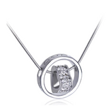 18K White Gold Plated,Crystals Heart Necklace-White Gold Necklaces for Women