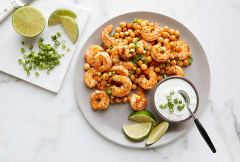 Spicy Broiled Shrimp and Chickpeas