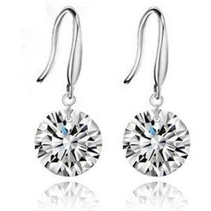 Crystal Dangle Earrings White Gold Plated with Cubic Zirconia - Hollywood Sensation