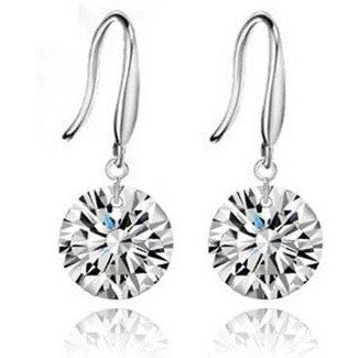 Crystal Dangle Earrings White Gold Plated with Cubic Zirconia