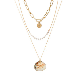 Gold Sea Shell Three Layer Necklace - Hollywood Sensation