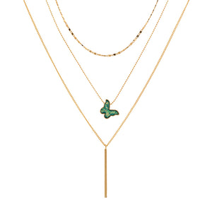 14k Gold Layer Necklace With Druzy Stone Butterfly Pendant