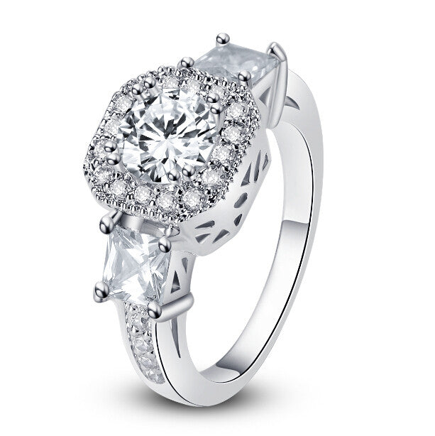 "Cubic Zirconia Rings-Hollywood Sensation ""Exotic Crystal Ring""-Cubic Ring-Cubic Zirconia Engagement Rings"
