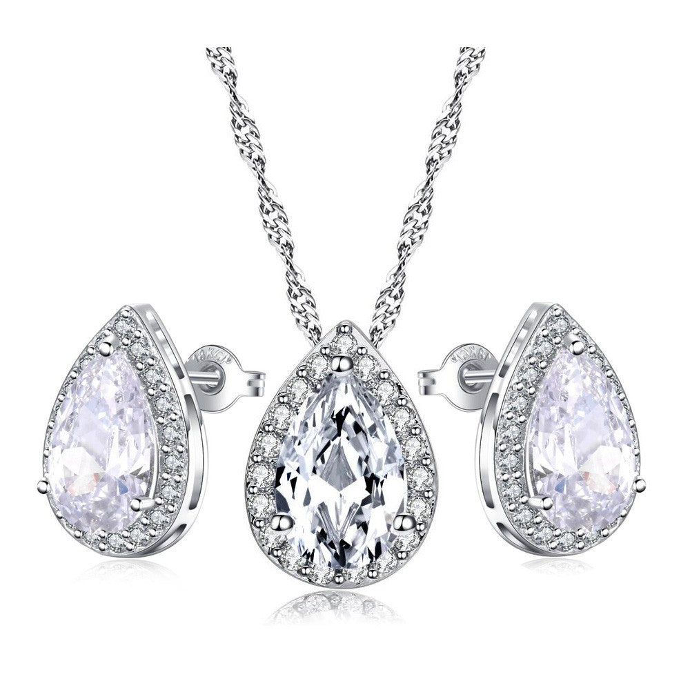 Pear Shaped Crystal Necklace and Earring Set - Hollywood Sensation