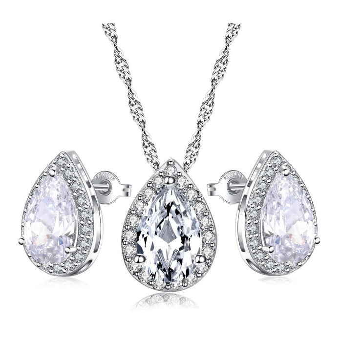 Crystal Teardrop Necklace and Teardrop Earring Set