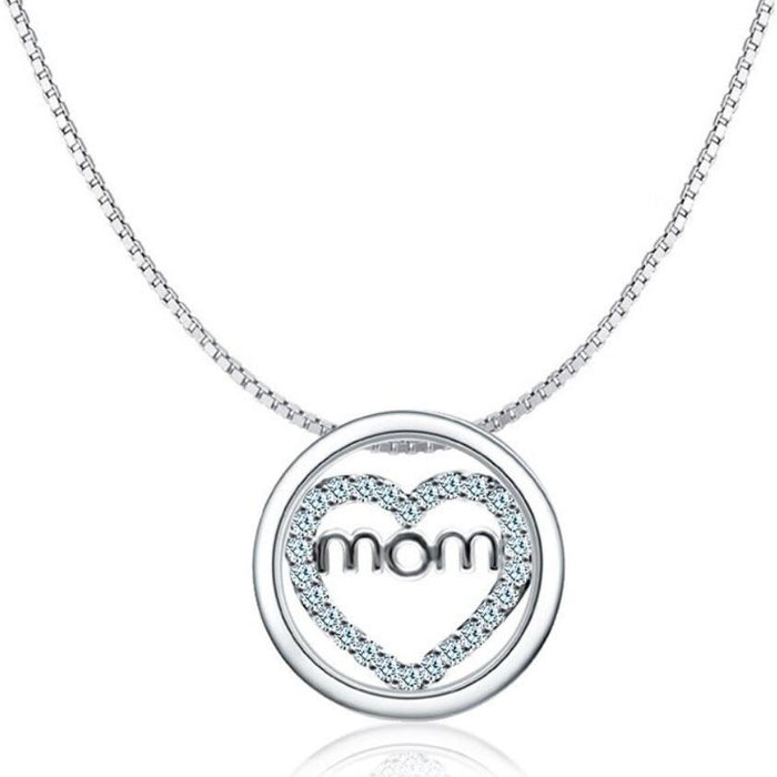 Mom Heart Circle Of Love Silver Finished Necklace
