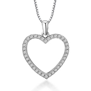 Dainty Crystal  Heart Necklace  Gold Plated with Cubic Zirconia - Hollywood Sensation