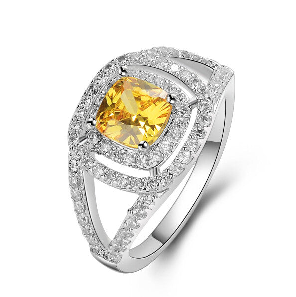 Citrine Ring with Crystals and White Gold Plated - Oasis Crystal Ring
