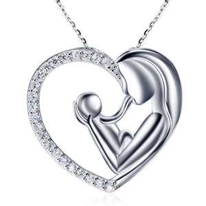 Mother Child Necklace Gold Plated with Cubic Zirconia - Hollywood Sensation