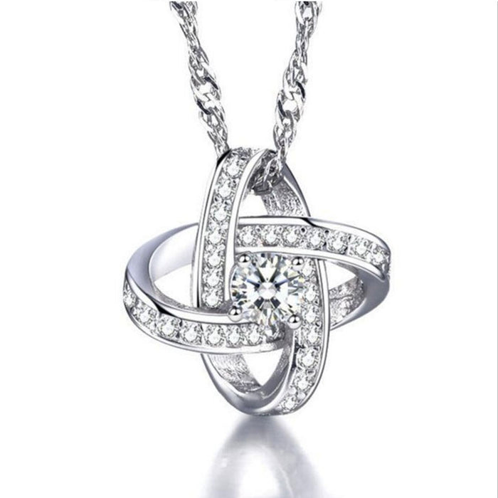 Knot Necklace With Cubic Zirconia Stones