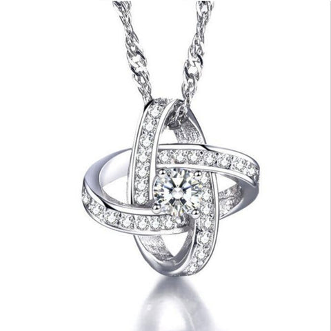 Mary Eternal Love Necklace-18k White Gold Necklace with Zircon Crystals